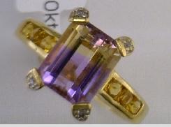bi color amatrine 10 Karat Yellow Gold