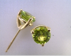 14k Yellow 1.00ct Peridot Stud Earrings