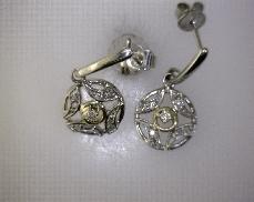 18kTT 0.11ctw J-K SI Diamond Dangle Earrings