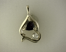 14kY 6mm Created Alexandrite & 0.12ctw H-I SI2 Diamond Pendant with Chain [2.7dwt]