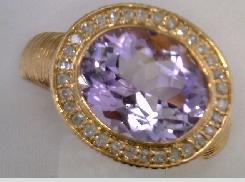 14 Karat Rose Gold Amethyst Rose de France & 0.24 Carat Total  Weight J-K I2 Single Cut Diamond Ring