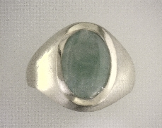 ESTATE 14kY Jadite Ring with brushed finish [4.8dwt]