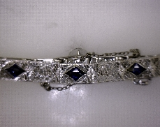 ESTATE 14kW Antique Die Struck Bracelet with 3 Synthetic Blue Spinel Stones