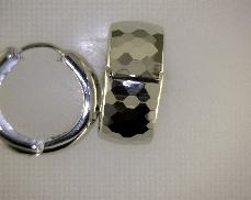Sterling Silver/Rhodium Polished Patterned Hinged Hoop Earrings