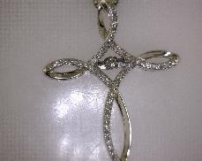 Sterling Silver 0.18ctw Dancing Diamond Cross Pendant
